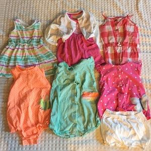 Carter's 8 piece dress and romper lot
